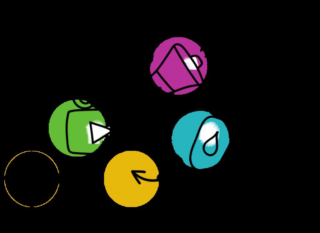 iconos de Síntesis y Acción para vídeos